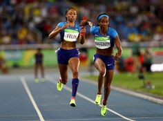 Day 7 of track and field at the Rio Olympics Allyson Felix, Relay Races, Rio Olympics 2016, Rio 2016, Team Usa, Sporty Outfits, Black Power, Track And Field, Black Women