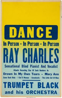 Ray Charles Concert Poster (1956). Very Rare.... Music | Lot #89167 | Heritage Auctions
