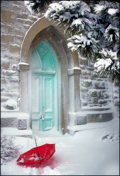 Turquoise doors,red umbrella and snow,can't beat it :) Winter Schnee, When One Door Closes, I Love Winter, Winter Snow, Winter Blue, Parasols, Red Umbrella, Winter Magic, Snow Scenes