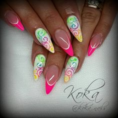 The result of the picture for summer gel nails - Best Nail Art Glam Nails, Neon Nails, Fancy Nails, Love Nails, Summer Gel Nails, Spring Nails, Pretty Nail Colors, Pretty Nails, Sculpted Gel Nails