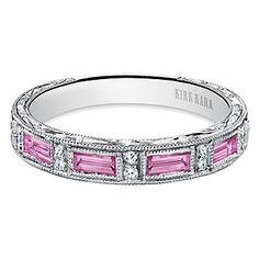 Kirk Kara 18K White Gold Charlotte Diamond & Pink Sapphire Anniversary Band  2AAID0002