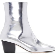 Dorateymur Silver Droop Nose Boots ($520) ❤ liked on Polyvore featuring shoes, boots, silver, silver metallic shoes, zipper boots, leather sole boots, metallic shoes and zip shoes