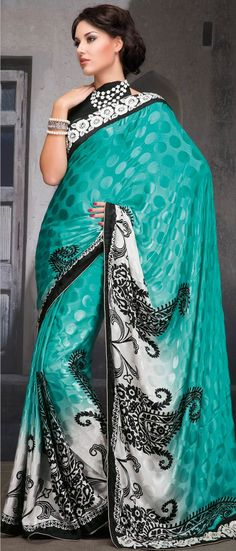 Shaded Turquoise #Blue and #White Faux Crepe #Saree with Blouse @ $ 42.61