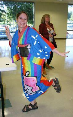 Nyan Cat and Tacnayn Kimono Cat Cosplay, Cosplay Outfits, Cosplay Costumes, Cosplay Ideas, Nyan Nyan, Chalk Design, Kimono Design, Neck Piece, Pusheen