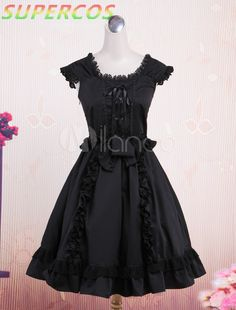 >> Click to Buy << Free shipping! New Arrivals! High Quality! Classic Black Short Sleeves Bow Decorated Cotton Lolita One-Piece Dress #Affiliate