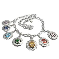 Sterling Cubic Zirconia 7 Chakra Charm Necklace