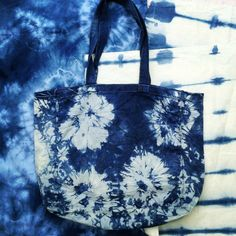 Indigo Tie Dye Canvas Tote Bag by PupTartHandmade on Etsy