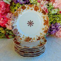 8 Antique 19c Haviland Limoges Porcelain Luncheon Plates Flowers Medallion #HavilandLimoges