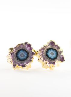 Kakahi earrings - gold amethyst stud earrings, gold druzy post earrings, gold stud earrings, amethyst slice druzy earrings, hawaii jewelry