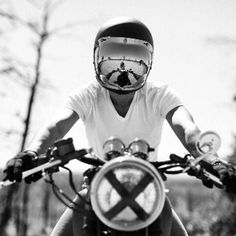 Image result for vintage white biltwell bonanza with red baron goggles