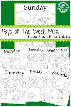 Days of The Week Mural {Free Kids Printable!}