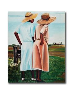 African American Sisters By Fence On Farm Wall Picture 8x10 Art Print