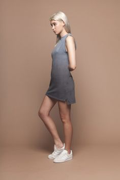 Organic Cotton Charcoal Ombre Shift Dress by BackBeatRags