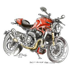 Dave Hendroff Ducati Monster 1200 Sketch on Archival PAper