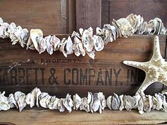 Oyster Shell Garland Nautical Decor by searchnrescue2 on Etsy