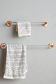 Acrylic and copper towel bar. Anthropologie Aberdeen Towel Bar