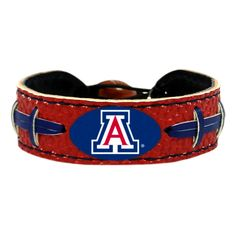 Arizona Wildcats Blue Laces on Red Leather Bracelet