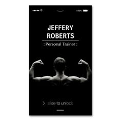 Creative and Unique Bodybuilder Personal Trainer Business Cards. This is a fully customizable business card and available on several paper types for your needs. You can upload your own image or use the image as is. Just click this template to get started!
