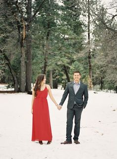winter engagement inspiration // maxi dress + suit in the snow