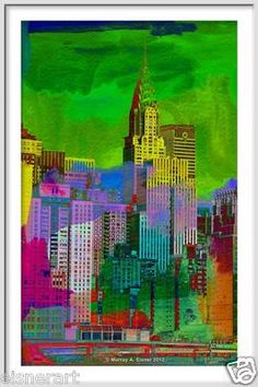 THE CHRYSLER BUILDING - From the New York City Series  Abstract pop art giclee of collage painting and digital photograph on watercolor paper  green, yellow, pink, red, and orange