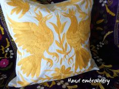 Your place to buy and sell all things handmade Yellow Pillows, Throw Pillows, Unlikely Friends, Pillow Shams, Hand Embroidery, Decorative Pillows, Delicate, Cushions, Birds