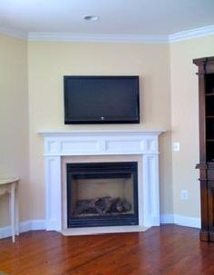 Yesterday the perfect mantel arrived in perfect condition and is admired by all. Corner Fireplace Mantels, Custom Fireplace Mantels, Fireplace Design, Fireplaces, Flat Panel Tv, White Flats, Family Room, Flat Screen, Mantle Ideas