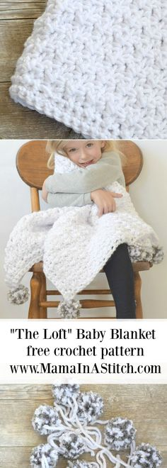 """""""The Loft"""" Pom Baby Blanket via /MamaInAStitch/. A free crochet pattern that includes a stitch tutorial! It's very easy and works up quickly! #crafts #blanket #baby"""