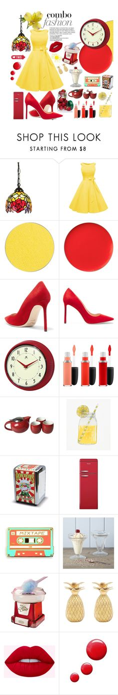 """""""Retro Red N Yellow"""" by essentiallyessence on Polyvore featuring ittse, Jimmy Choo, Improvements, MAC Cosmetics, Swan, Rigby & Mac, Nostalgia Electrics, The Pineapple Co. and Topshop"""
