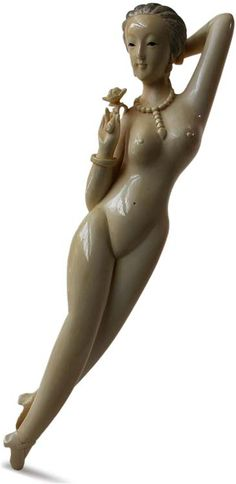 Antique Chinese Carved Ivory Doctor Lady Reclining Nude