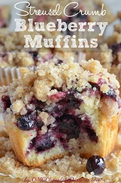 Streusel Crumbs Bluberry Muffins | OMGChocolateDesserts.com |#blueberry #muffins #streusel