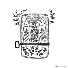 Flora Waycott - Inktober Day 24 - I love sardines! xx bahaha this would be an adorable sisters tat. Ink Illustrations, Illustration Art, Fish Art, Pretty Pictures, Painting & Drawing, Art Drawings, Flora, Creations, Inktober