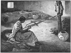Zuñi Woman Weaving A Belt.