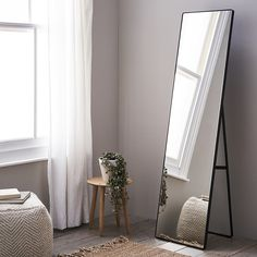 Chiltern Free-Standing Floor Mirror A contemporary statement piece, this beautiful mirror stands out in any room in your home. To get its beautiful look, the steel frame is oiled and the. Wood Bedroom, Bedroom Decor, Mirror Bedroom, Bedroom Furniture, Full Length Mirror In Bedroom, Full Body Mirror, White Furniture, Luxury Furniture, Wood Furniture
