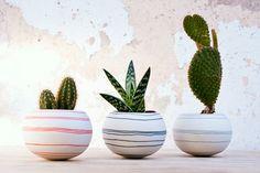 colorful porcelain planter light gray stripes. Ceramic by wapa