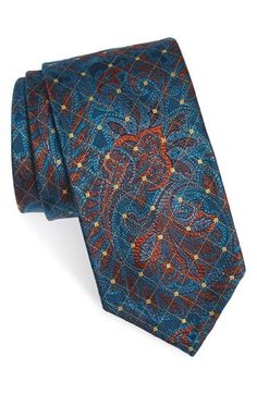 Robert Talbott Paisley & Diamond Grid Silk Tie