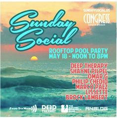May 2014 Sunday Social! Tech House Music, Rooftop Pool, South Beach, Therapy, Sunday, Flyers, 18th, Google Search, Domingo