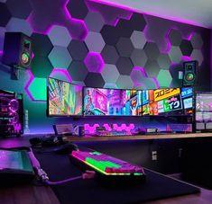 #gaming #gamingsetup #gamesforpc #technology Computer Gaming Room, Gaming Room Setup, Computer Setup, Gaming Rooms, Cool Gaming Setups, Bedroom Setup, Room Ideas Bedroom, Video Game Rooms, Game Room Design