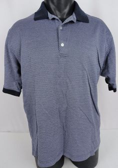 Bobby Jones Golf Players Polo Shirt Mens L SS Geometric Blue Embroidered Logo  #BobbyJones #PoloRugby