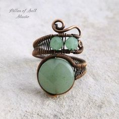 Green Aventurine adjustable wire wrapped ring