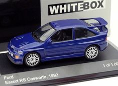 Whitebox Ford Escort Diecast Model Car This Ford Escort Cosworth Diecast Model Car is Blue and has working wheels and also comes in a display case. It is made by Whitebox and is scale (approx. Ford Escort, Car Makes, Diecast Model Cars, Ford Models, Display Case, Childhood Memories, Scale, Wheels, Toy
