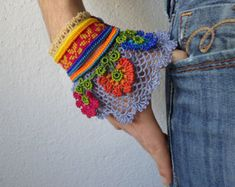 freeform crochet bracelet with colorful by irregularexpressions