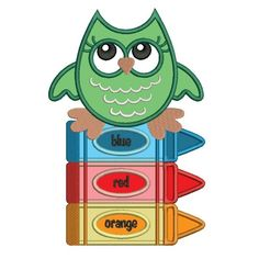 Baby Owl Sitting on Markers School Applique Machine Embroidery Design Digitized Pattern