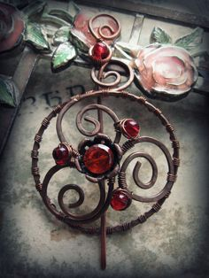 Floral Wire Wrapped Shawl Pin  Solid Copper Flower  by Lirimaer, $30.00