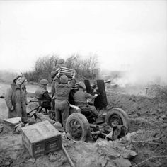 40mm Bofors gun of 319 Battery, 92nd (Loyals) Light Anti-Aircraft Regiment in action in the ground support role east of the Rhine, 26 March 1945.