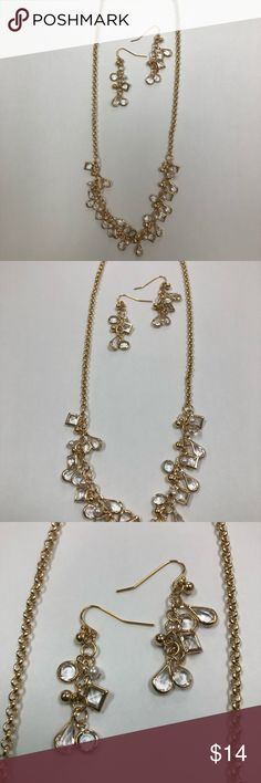"""Gold Necklace and Earrings Gold plated handmade necklace with matching earrings. All nickel free so you will not be allergic. Necklace measures 19-20"""" and earrings are about 1.5"""" Jewelry"""