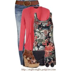 Cute floral tank with matching cardigan and denim or slacks. Casual work outfit