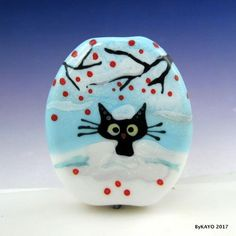 """THE SNOWDRIFTER"" byKAYO a Handmade WINTER CAT Lampwork Art Glass Focal Bead SRA #Lampwork"