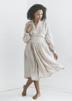 Black Crane - Poet Dress in Oatmeal
