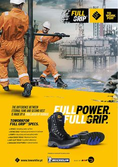 Project contains; #SubLogo #branding, #campaign and #keyVisual #designs for the #ToWorkFor #FullGrip #Safety #Shoes #Collection - 'Full Power. Full Grip'. More #projects on my #Behance! #Hamilton #Lopez Visual Advertising, Creative Advertising, Advertising Design, Banner Design Inspiration, Website Design Inspiration, Web Design, Graphic Design, Design Campaign, Exposition Photo