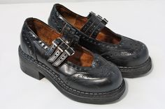 Vintage 1990s John Fleuvog Triple Strap Black